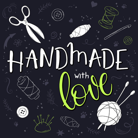 vector hand drawn romantic poster with knitting ball and handwritten lettering quote - handmade with love. Ilustração
