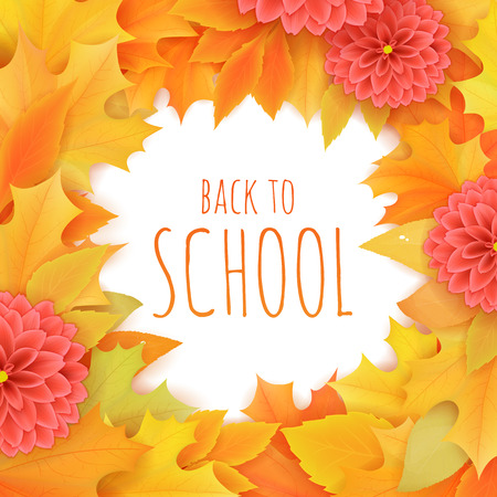 vector hand drawn back to school lettering surrounded with autumn leaves and dahlia flowers. Can be used as greetings card or poster.