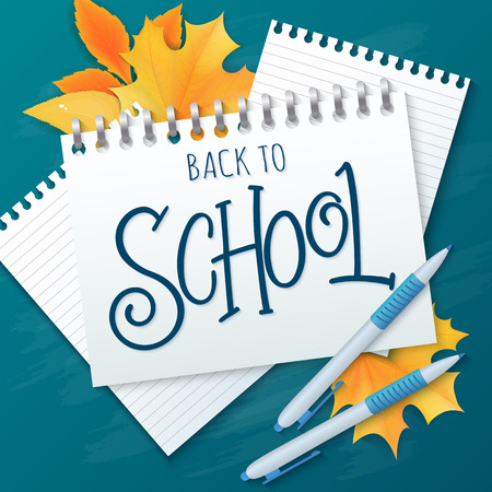 vector hand drawn lettering greetings label - back to school - with realistic notebook, paper sheets, pens and autumn leaves on chalkboard background. Can be used as greetings card or poster.