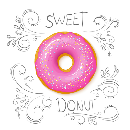 vector illustration of realistic isolated sweet donut on top view with hand drawn curly leaves and branches.