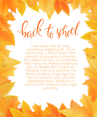 vector back to school blank surround with autumn leaves. Can be used as mothers day card or poster.