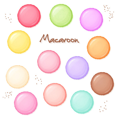 hand drawn set of coloured sweet macaroon - top view.