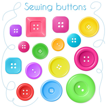 sewing buttons: hand drawn set of coloured sewing buttons - top view. Illustration