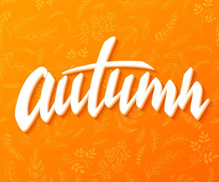 illustration of hand lettering label - autumn - with doodle brunches and leaves.