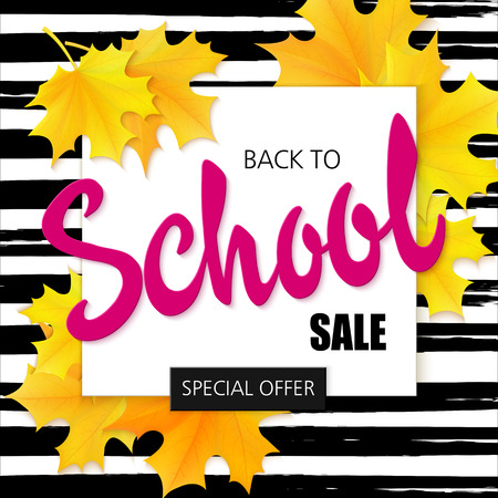 hand drawn back to school lettering sale label with leaves on watercolor striped background.