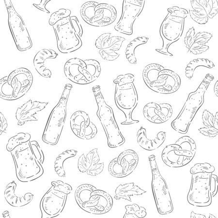 barrel tile: hand drawn beer seamless pattern with beer bottles, pretzels, sausages and beer mugs. Illustration