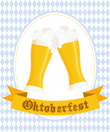 rhombic: Vector illustration of hand drawn oktoberfest poster with two flat beer mugs on rhombic oktoberfest background.