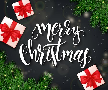christmas backdrop: realistic vector illustration of christmas greeting card with branches of christmas tree, gifts and hand lettering phrase - merry christmas on chalkboard. Illustration