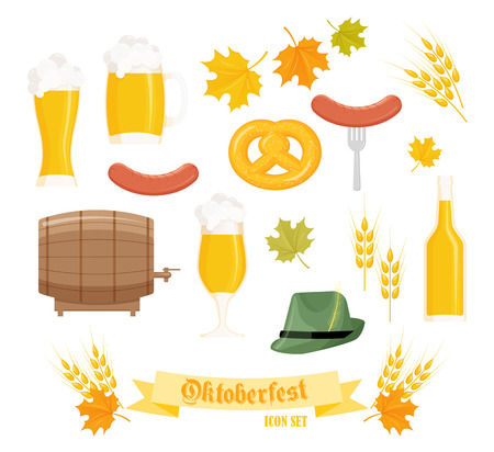 autumn leafs: vector set of detailed flat oktoberfest objects - glass, mug, barrel and bottle of beer, pretzel, sausages, ears of wheat and autumn leafs. Illustration