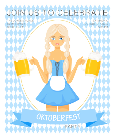 bavarian girl: Vector detailed flat illustration of oktoberfest party invitation with bavarian girl in national dress holding two beer mugs on rhombic oktoberfest background.