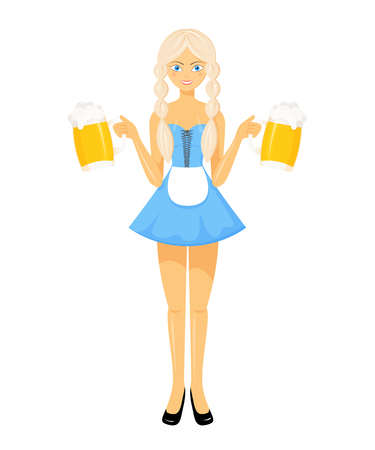 bavarian girl: Vector detailed flat illustration of oktoberfest bavarian girl in national dress holding two beer mugs. Illustration