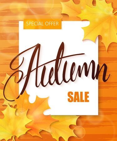 stripped: vector hand drawn autumn lettering sale label with leaves and paper sheet on stripped watercolor background.