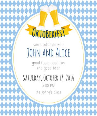 oktoberfest background: Vector detailed flat illustration of oktoberfest party invitation with two beer mugs on rhombic oktoberfest background. Illustration