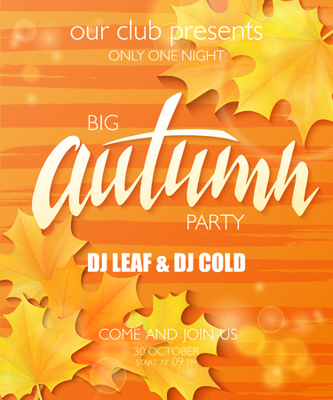 stripped background: vector hand drawn autumn party poster with lettering label, leaves and shiny and luminous flares on watercolor stripped background.