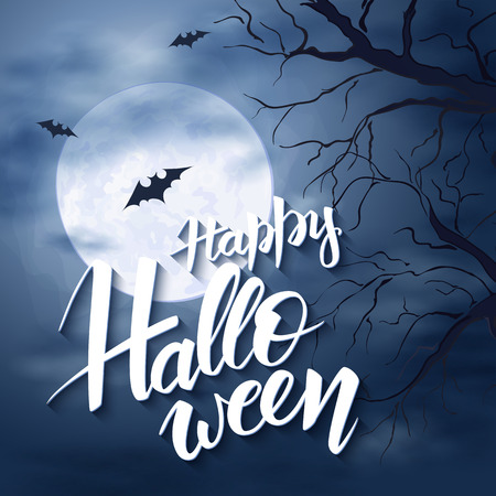 flying bats: vector halloween poster with hand lettering greetings label - happy halloween - on night sky with full moon and clouds on the background with flying bats and dark trees.