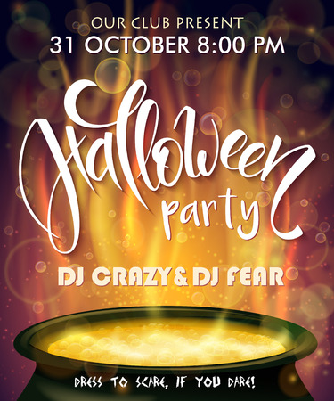 to boiling: vector halloween party invitation poster with hand lettering label - halloween - with boiling witch cauldron on background.