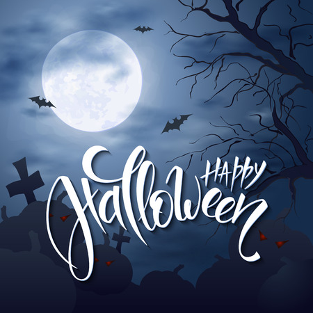 necropolis: halloween poster with hand lettering greetings label - happy halloween - on night sky with full moon and clouds on the background with flying bats over graveyard and dark trees.