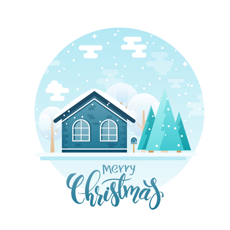 country house style: flat style country house with spruces and trees with lettering quote - merry christmas. It is snowing now.