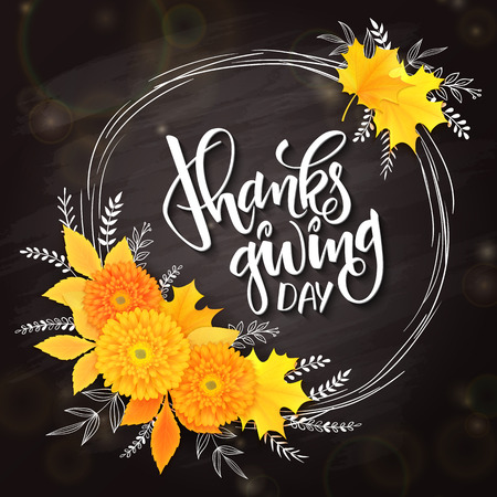 thanksgiving day greeting lettering phrase - thanksgiving day - with frame, chrysanthemum bouquet with doodle flower branches on black doodle background. Design for greeting card or poster.