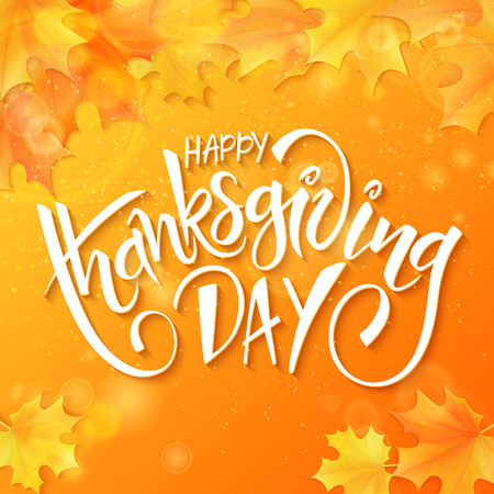 caes: hand drawn thanksgiving lettering greeting phrase - happy thanksgiving day - with leaves and shiny flares. Vectores