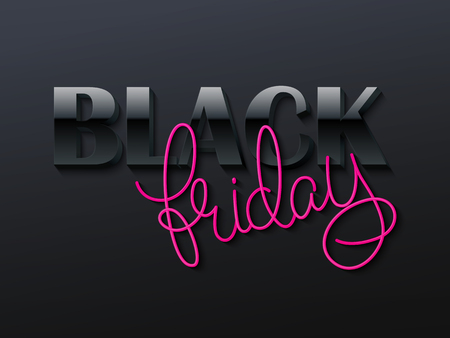 illustration of black friday poster with 3d and hand lettering text. Illustration