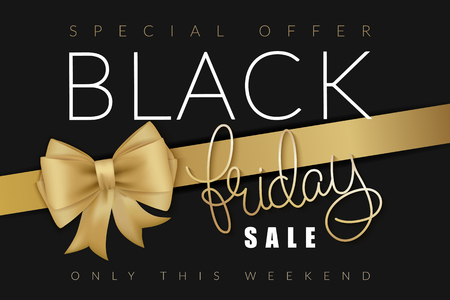 illustration of black friday banner with hand lettering golden word - friday - and golden ribbon with bow.