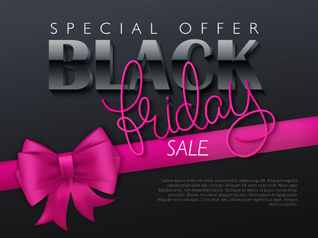 vector illustration of black friday banner with hand lettering golden word - friday - and pink ribbon with bow. Illustration