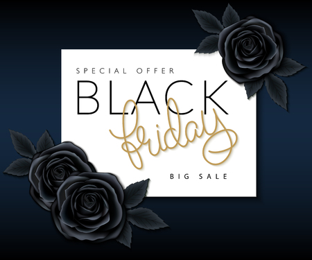 black roses: vector illustration of black friday banner with hand lettering golden word - friday and black roses. Illustration