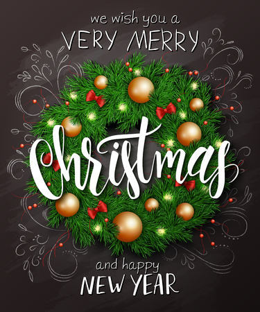 spruce: Vector christmas poster with christmas decoration spruce wreath with christmas ornaments, bows, and lettering greetings text.