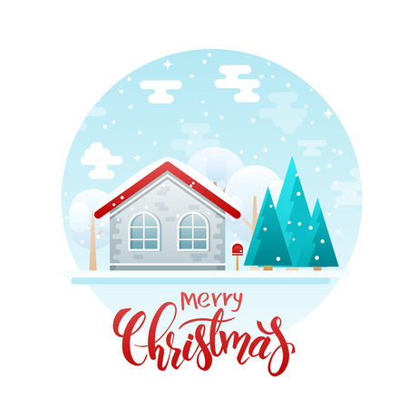 country house style: vector flat style country house with spruces and trees with lettering quote - merry christmas. It is snowing now. Illustration