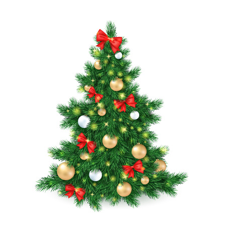 vector vector illustration of big christmas tree decorated white and golden christmas ornaments and red ribbon bows