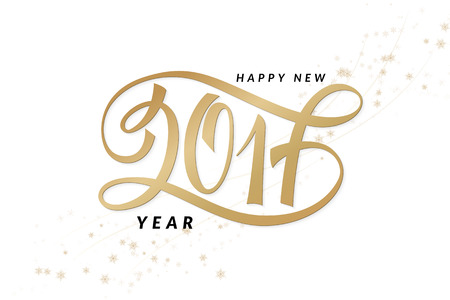 happy new years: vector new 2017 year greetings poster with hand lettering number. Illustration