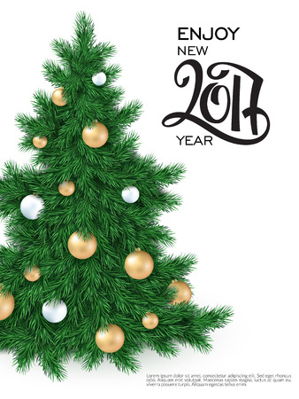 year greetings: vector new 2017 year greetings poster with hand lettering number and big christmas tree, decorated white and golden christmas ornaments.