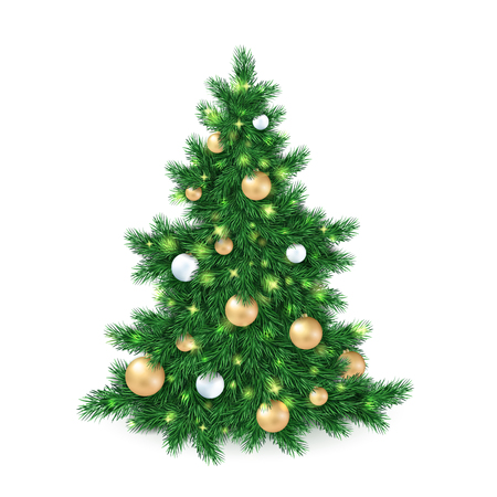 big tree: vector illustration of big christmas tree, decorated white and golden christmas ornaments.