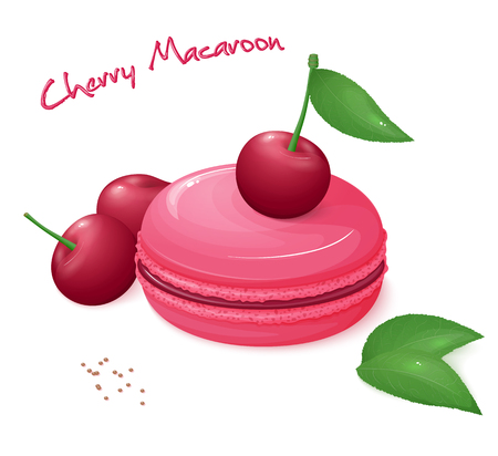 macaron: vector illustration of realistic isolated cherry macaroon with fresh ripe cherry berries and leaves. Illustration