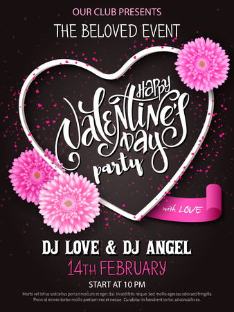 Vector happy valentines day party poster with lettering, chrysanthemum flowers and heart frame.