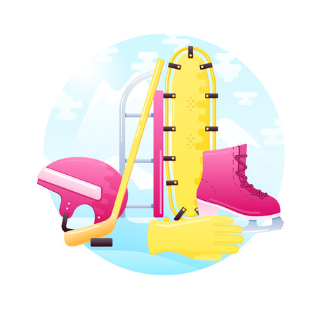 snowshoes: vector set of detailed flat winter activity equipment. Contains snowshoes, sled, skates, helmet, hockey stick, washer and gloves.