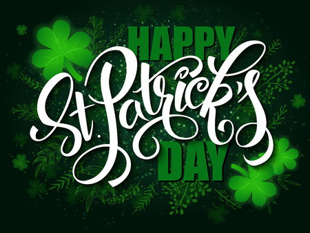 vector hand lettering saint patricks day greetings card with clover shapes and branches