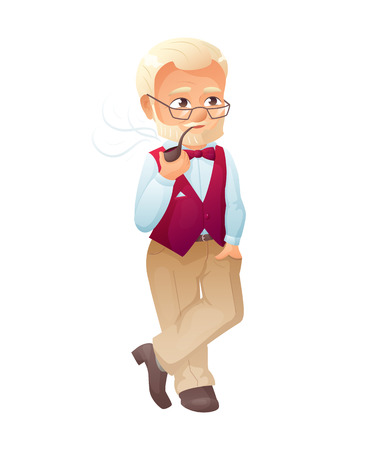 Illustration of an old active man with glasses, mustache and beard, who is dressed in a elegant vest. He is standing and smoking tobacco pipe. Illustration