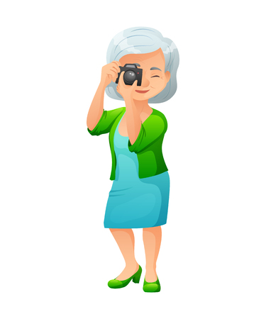 Illustration of an old active lady with camera, who is dressed in elegant dress and cardigan. She is standing and taking a photo.