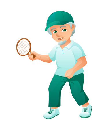 Illustration of an old active man with beard, who is dressed in a sport dress and sneakers. He is play tennis. Illustration