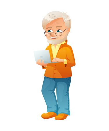 Illustration of an old active man with glasses, mustache and beard, who is dressed in jeans and cardigan. He is standing and surfing the internet on a netbook.