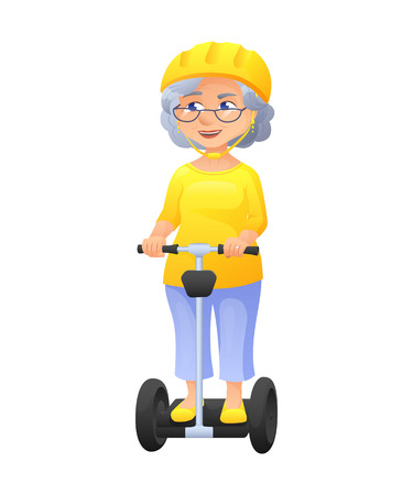 vector illustration of an old active lady with glasses and protect helm, who is dressed in tunic and breeches. She is riding on self-balancing scooter.