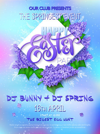 Easter party poster with lettering, lilac flowers, doodle branches and rhombus on a blur background