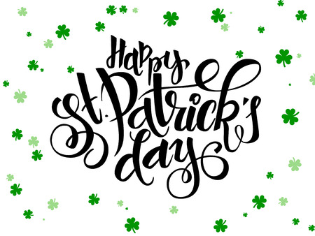 irish pub label design: vector hand lettering saint patricks day greetings text with clover shapes Illustration
