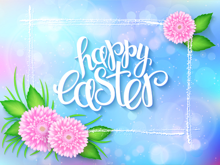 vector illustration of easter greetings card with lettering - happy easter, frame, chrysanthemum flowers bouquet and spring grass on a blur shining circles background