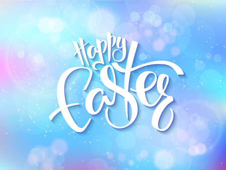 vector illustration of easter greetings card with lettering - happy easter on a blur shining circles background