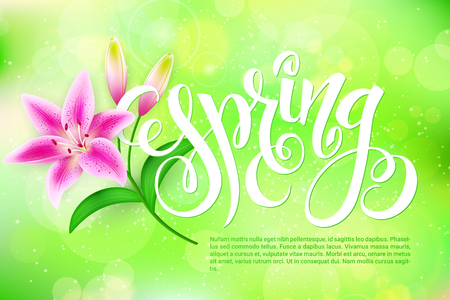 Vector spring lettering with lily flower on a blur shining circles background. Ilustrace