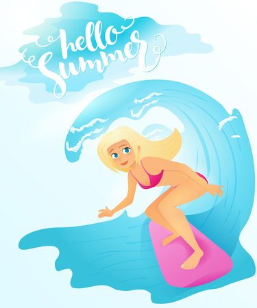 wave hello: Vector illustration of detailed flat blonde surfer girl riding on surfboard by the sea wave with lettering - hello summer