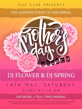 A vector illustration of mothers day event poster with round frame, blooming chrysanthemum flowers hand lettering text - mothers day Illustration